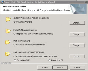 Screenshot for installation path